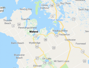 google map of Midland and area, Georgian Bay, Ontario